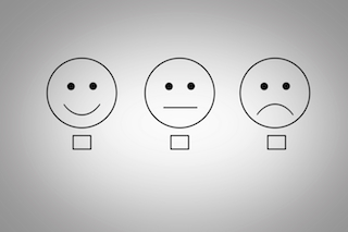Drawing of happy, neutral and frustrated emoticons with check boxes.