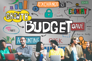 Young Adults at laptops beneath illustrated financial words like Growth, Budget, and Save.