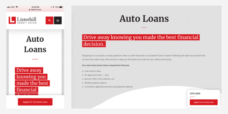 Listerhill Credit Union CTA button on Auto Loans page