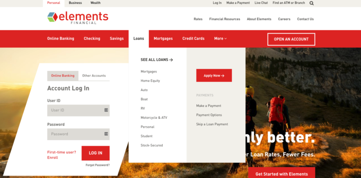 Screenshot of Elements Financial Credit Union Navigation Menu