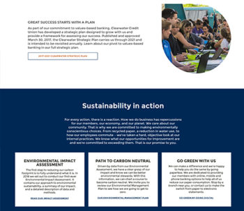 Screen shot showing sustainability efforts
