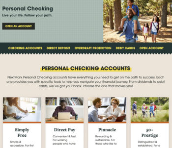 web page screen capture featuring checking accounts