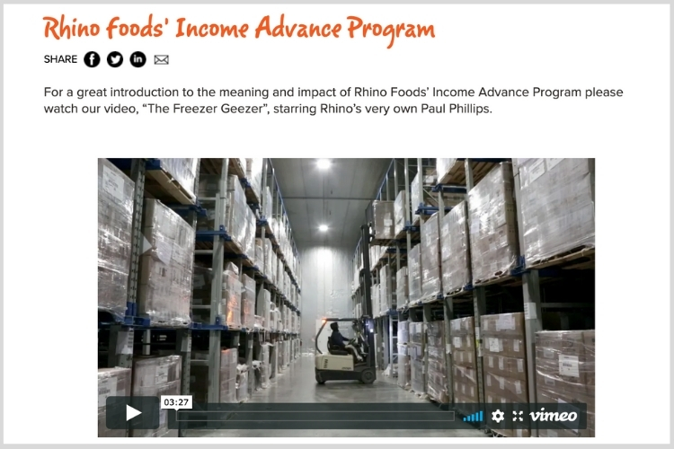 Rhino Foods and NorthCountry FCU Income Advance Program