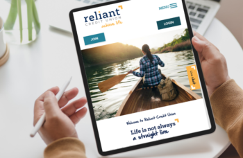 Reliant Credit Union homepage on tablet