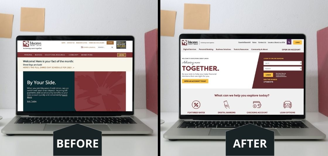 Educators Credit Union old website and new website